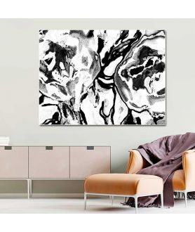 Obrazy czarno białe - Grafika obraz Czarno białe kwiaty (1-częściowy) szeroki