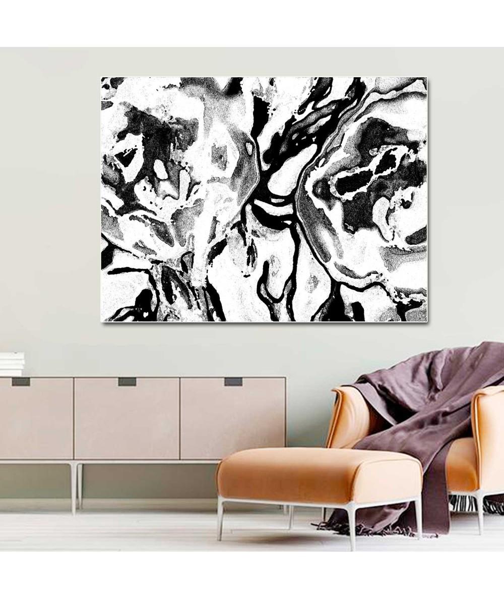 Obraz na płótnie Grafika Czarno białe kwiaty