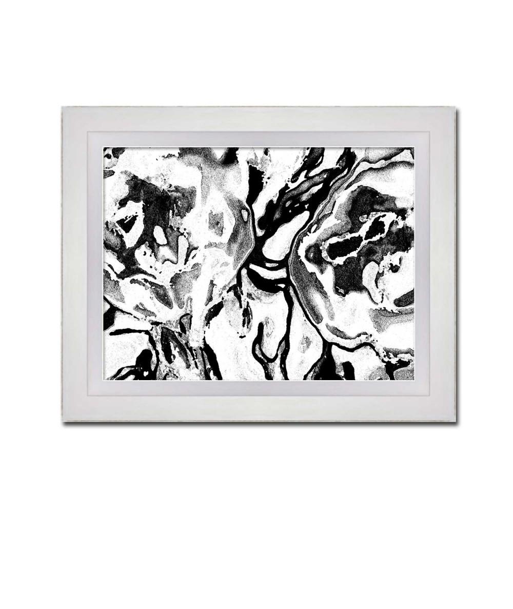 Grafika obraz Czarno białe kwiaty (1-częściowy) szeroki