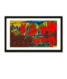 Obraz na płótnie Abstrakcja kwiaty Czerwona orchidea (1-częściowy) szeroki
