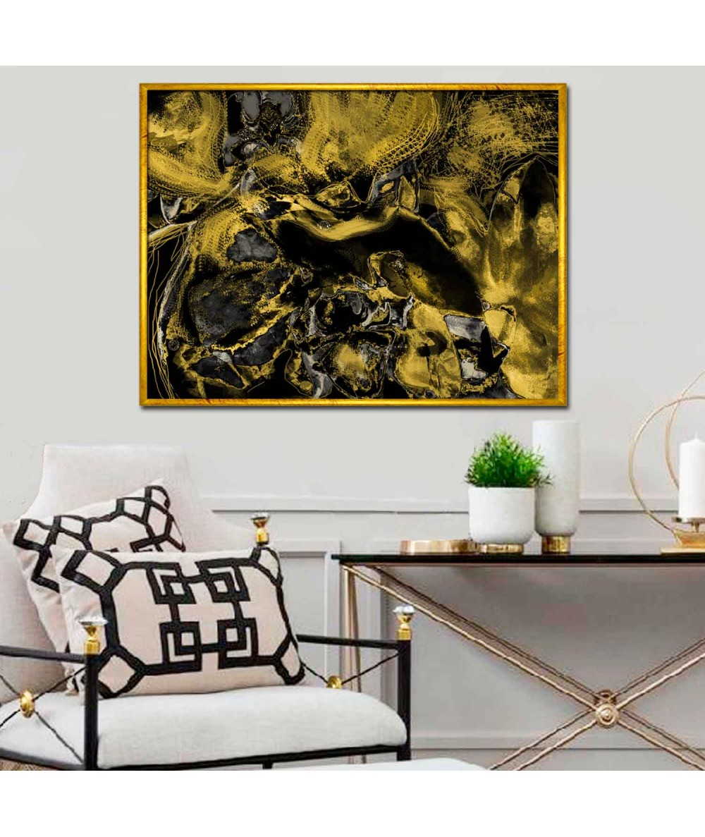 Obraz abstrakcja Złoty kadr (1-częściowy) szeroki