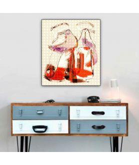Obraz na płótnie Plakaty nowoczesne Ognista kobieta, plakat z butami