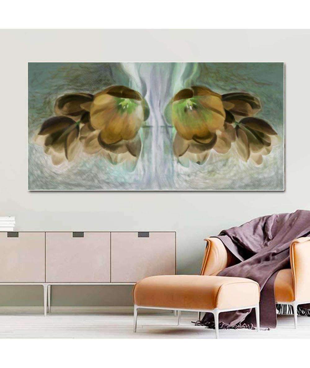Obrazy plakaty na ścianę Obraz brązowe kwiaty Złote tulipany