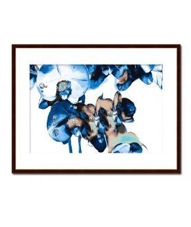Obrazy plakaty na ścianę Granatowy obraz Diamentowe storczyki