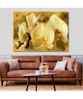 Obraz na płótnie Obraz kwiaty Złoty glamour (1-częściowy) szeroki