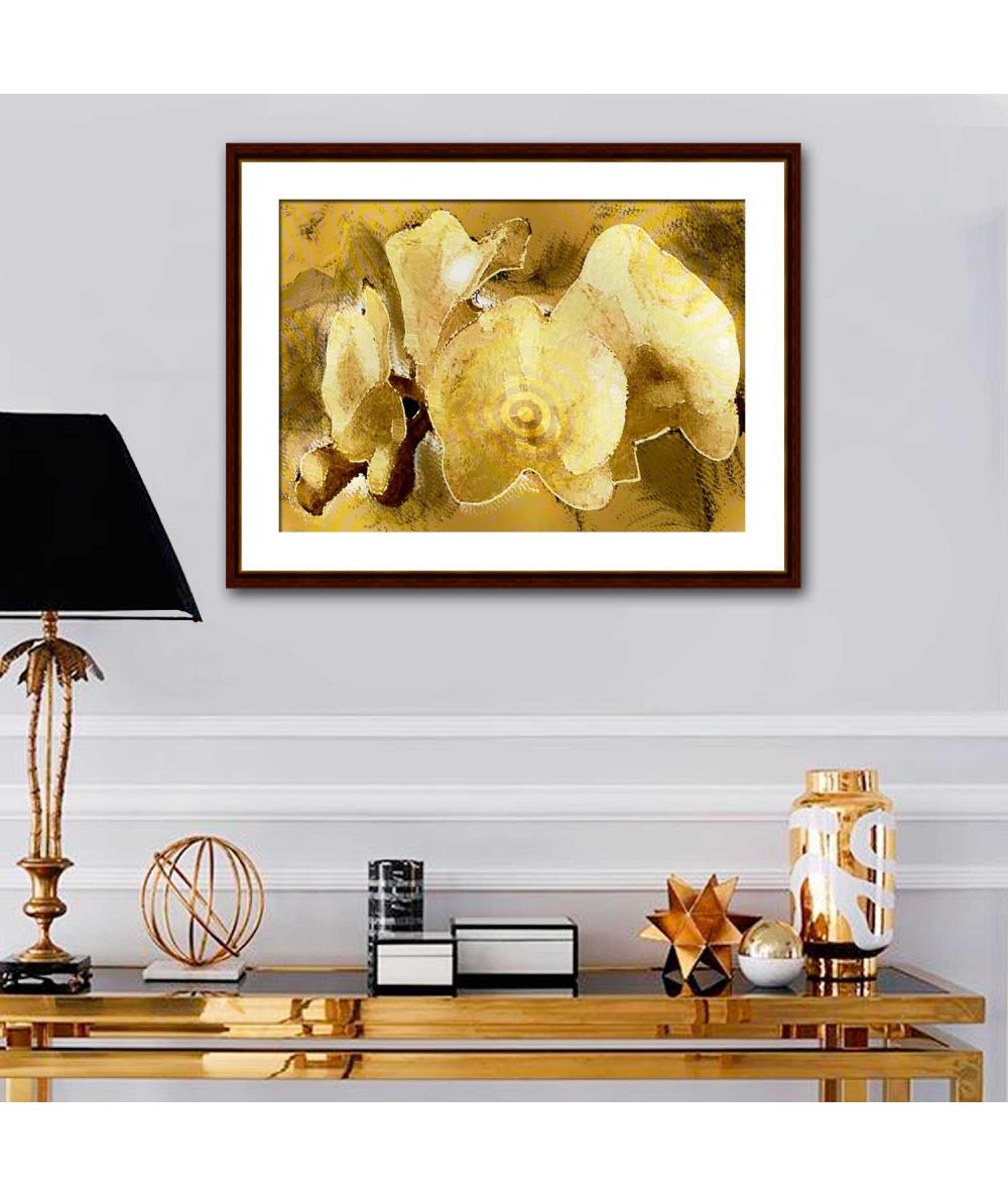 Obrazy plakaty na ścianę Kwiaty obraz Złoty glamour