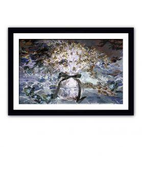 obrazy kwiaty Obraz Powojnik i niezapominajki (1-częściowy) szeroki