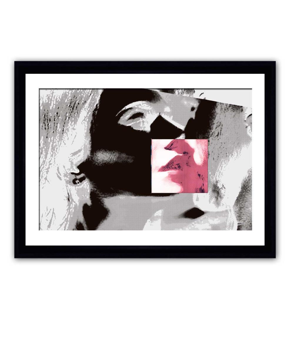 Obraz czarno biały z czerwonym Usta (1-częściowy) szeroki