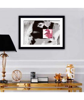 Obraz na płótnie Obraz czarno biały z czerwonym Usta (1-częściowy) szeroki