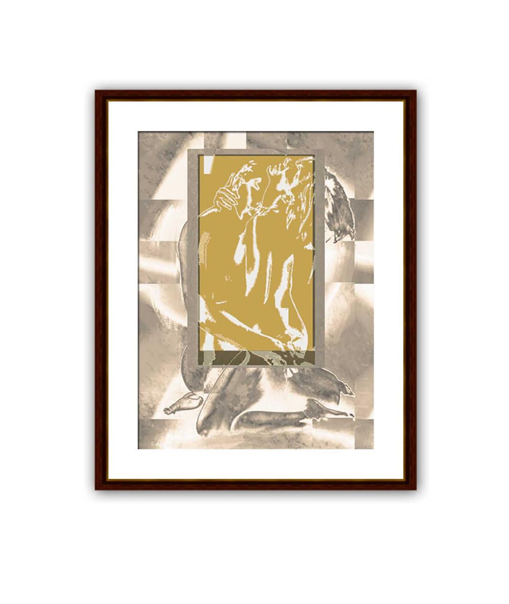 Dekoracja na ścianę Obraz akt Złote okno uczuć