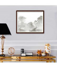 Obraz na płótnie Obraz Piękne łabędzie (1-częściowy) szeroki