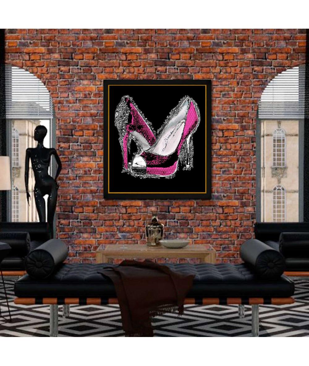 Obraz różowe buty szpilki na czarnym tle Luksusowa kobieta
