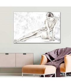 Grafika do sypialni nad łóżko Biały akt, styl francuski