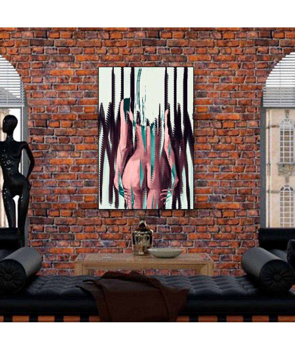 Obrazy akty - Akt kolorowy na płótnie Stojąca kobieta (1-częściowy) pionowy