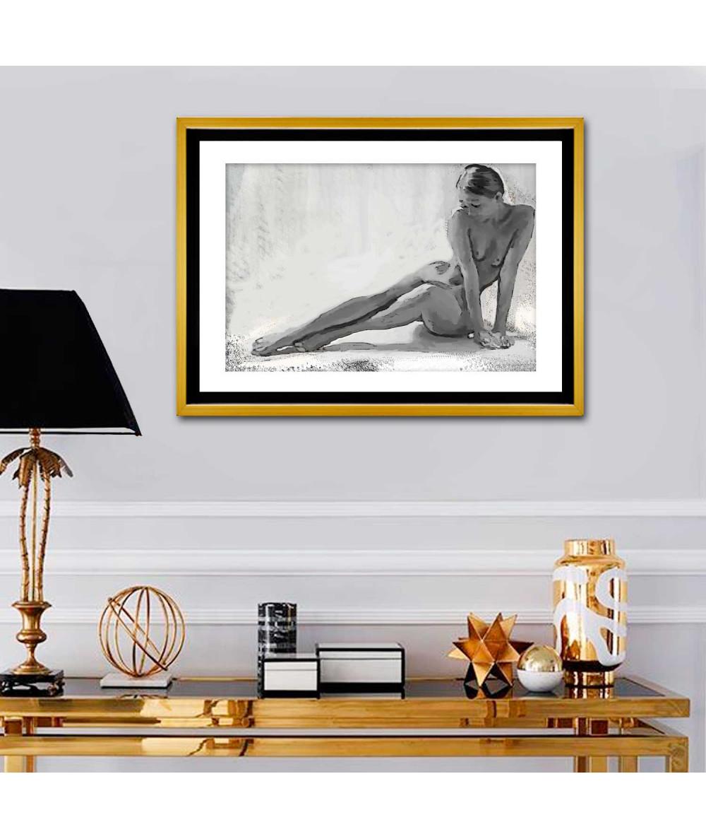 Obrazy akty - Szary obraz na ścianę Akt młodej kobiety