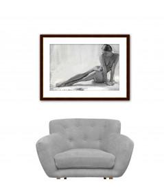 Szary obraz na ścianę Akt młodej kobiety