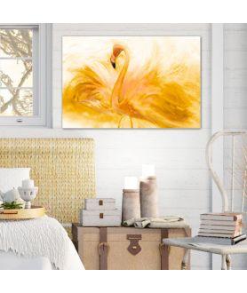 Złote Obrazy - Złoty obraz Flaming akwarela złoty (1-częściowy) szeroki
