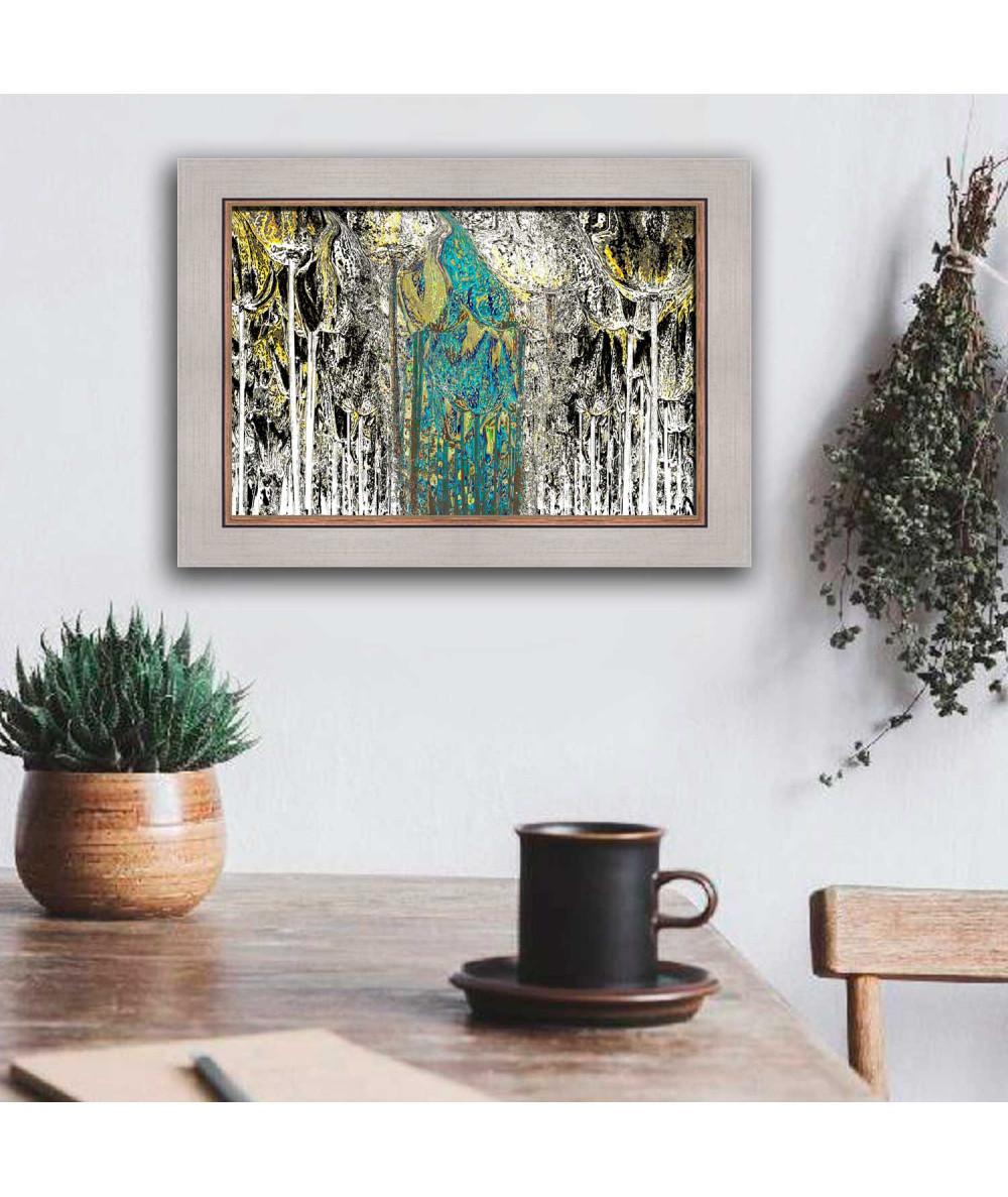 Obraz na płótnie Grafika z turkusem W lesie