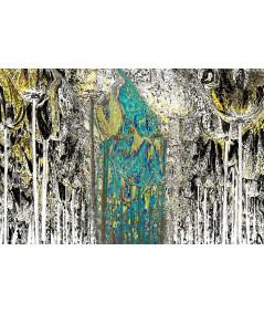 Obraz na płótnie Grafika z turkusem W lesie (1- częściowa) szeroka
