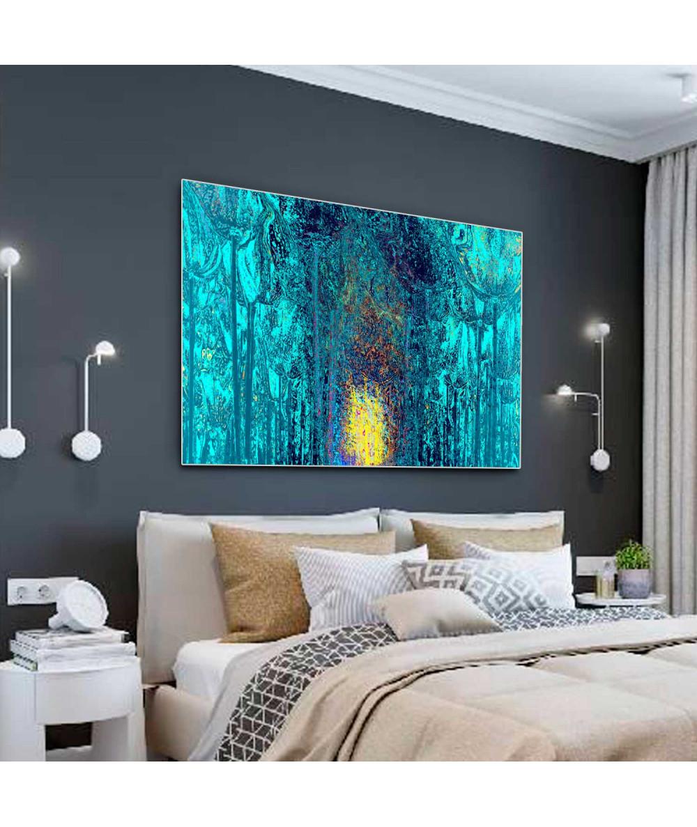 Obrazy w kolorze turkusowym Bajkowy las (1-częściowy) szeroki