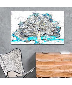 Nowoczesne obrazy z turkusem Drzewo z papieru